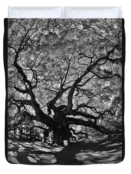Duvet Cover featuring the photograph Angel Oak Johns Island Black And White by Lisa Wooten