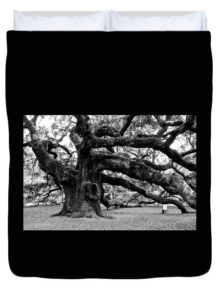 Angel Oak Tree 2009 Black And White Duvet Cover by Louis Dallara
