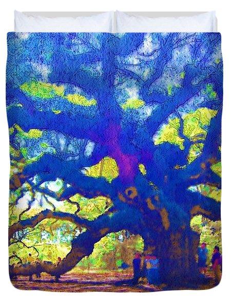 Duvet Cover featuring the photograph Angel Oak Tree by Donna Bentley