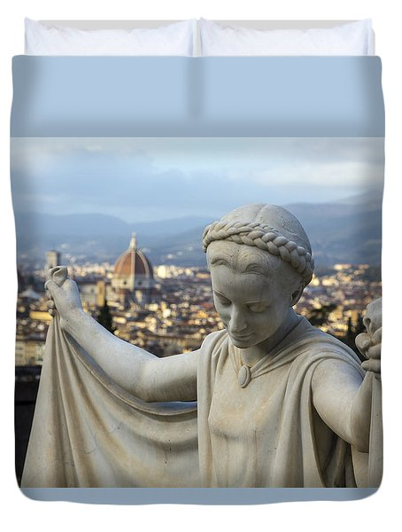 Duvet Cover featuring the photograph Angel Of Firenze by Sonny Marcyan