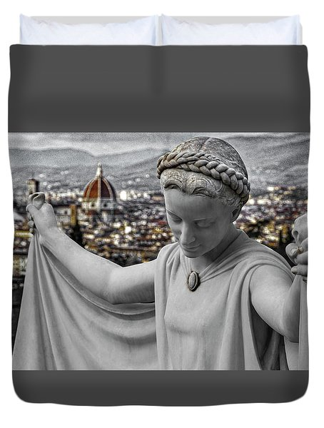 Duvet Cover featuring the photograph Angel Of Florence by Sonny Marcyan