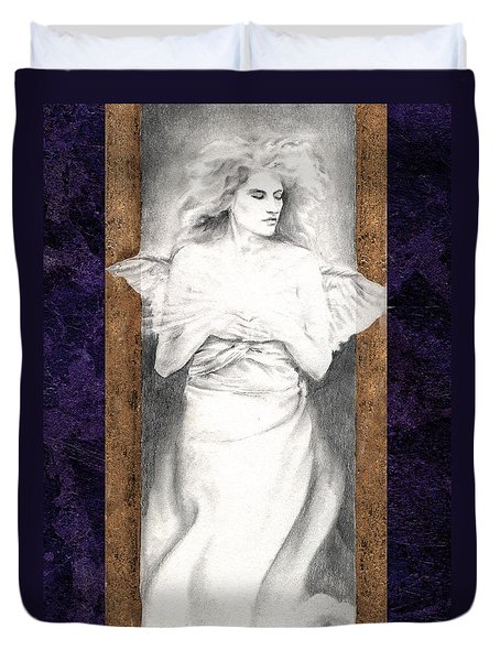 Duvet Cover featuring the painting Angel Of Light by Ragen Mendenhall