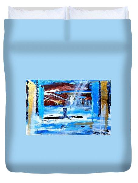 Angel Over Water Duvet Cover
