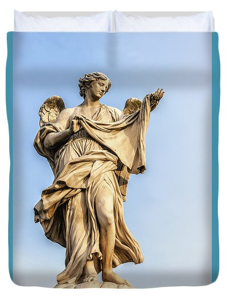 Angel Statue In Rome Duvet Cover
