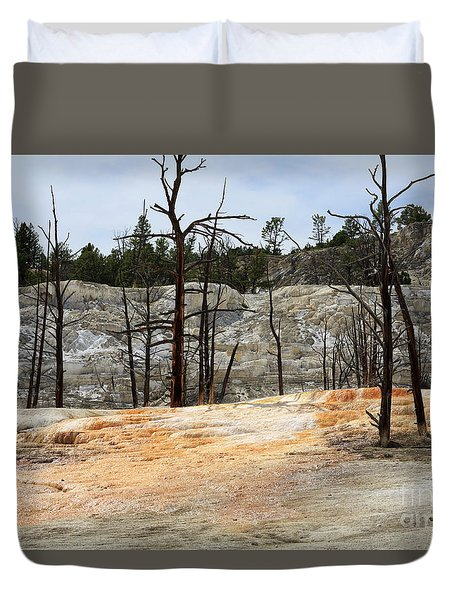 Angel Terrace At Mammoth Hot Springs Yellowstone National Park Duvet Cover by Louise Heusinkveld