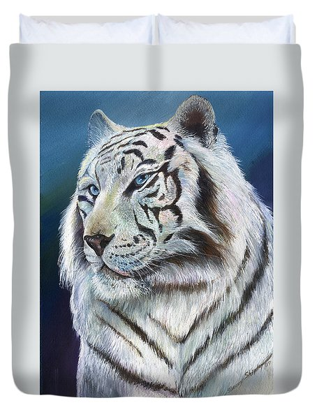 Duvet Cover featuring the painting Angel The White Tiger by Sherry Shipley