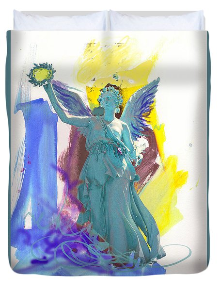 Angel, Victory Is Now Duvet Cover by Amara Dacer