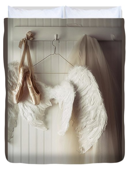 Angel Wings And Ballet Shoes Hanging On Hooks                    Duvet Cover