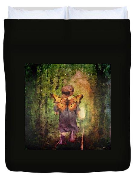 Duvet Cover featuring the digital art Angel Wings by Lisa Noneman