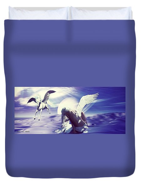 Angel With A Broken Wing Duvet Cover by Riana Van Staden