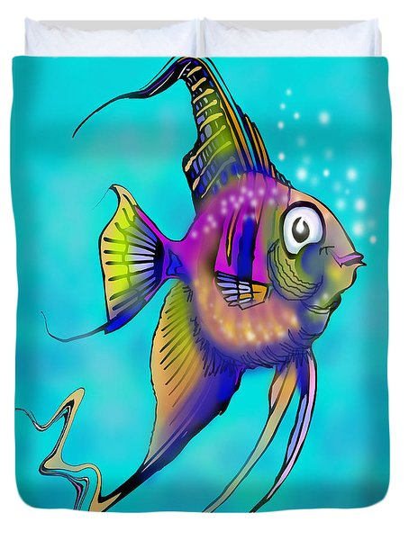 Duvet Cover featuring the painting Angelfish by Kevin Middleton