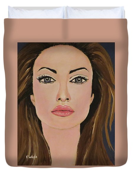 Duvet Cover featuring the painting Angelina  by Kathleen Sartoris