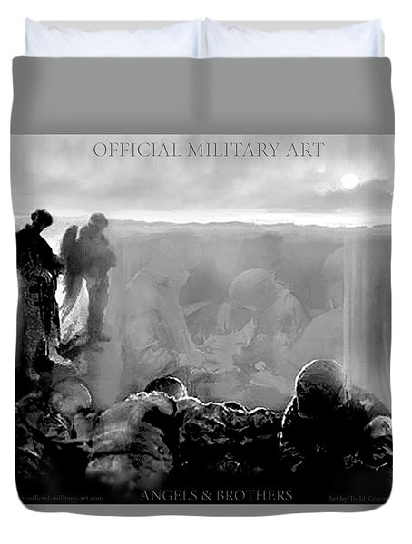 Angels And Brothers Black And White Duvet Cover by Todd Krasovetz