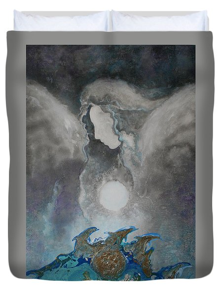 Angels And Dolphins Healing Sanctuary Duvet Cover
