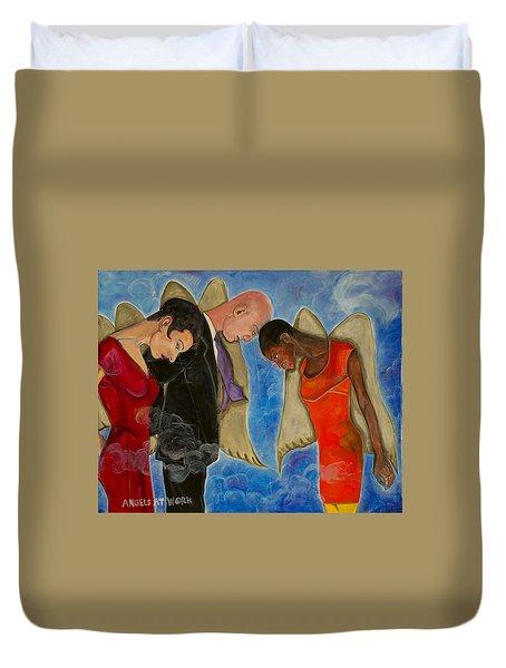 Angels At Work Duvet Cover by Darlene Graeser