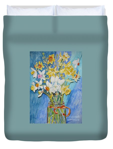 Angels Flowers Duvet Cover by Jan Bennicoff