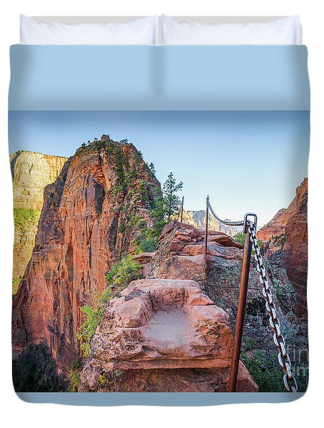 Angels Landing Hiking Trail Duvet Cover by JR Photography