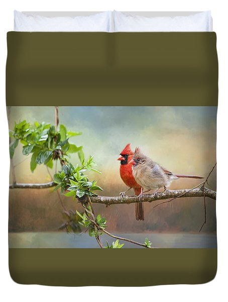 Angels Of The Morning And Evening Duvet Cover by Bonnie Barry