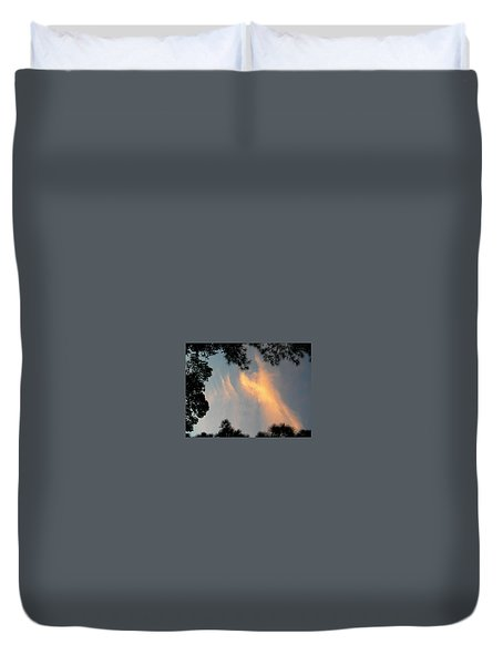 Angels Over The Front Yard Duvet Cover