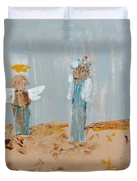 Angels Taking Care Of E Duvet Cover