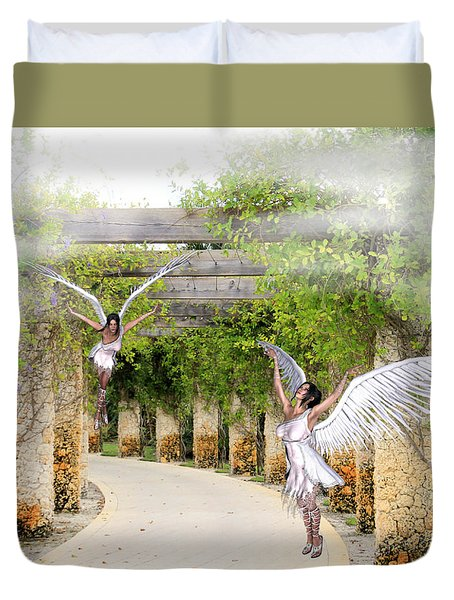 Angels Under The Arbor Duvet Cover
