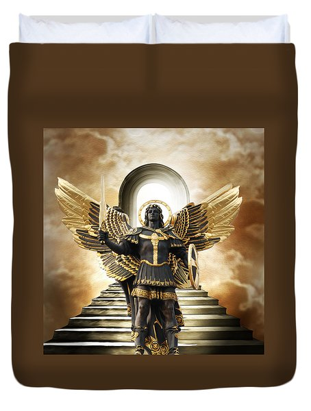 Duvet Cover featuring the digital art Angels Watching Over Me by Karen Showell