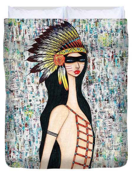 Duvet Cover featuring the mixed media Angeni by Natalie Briney