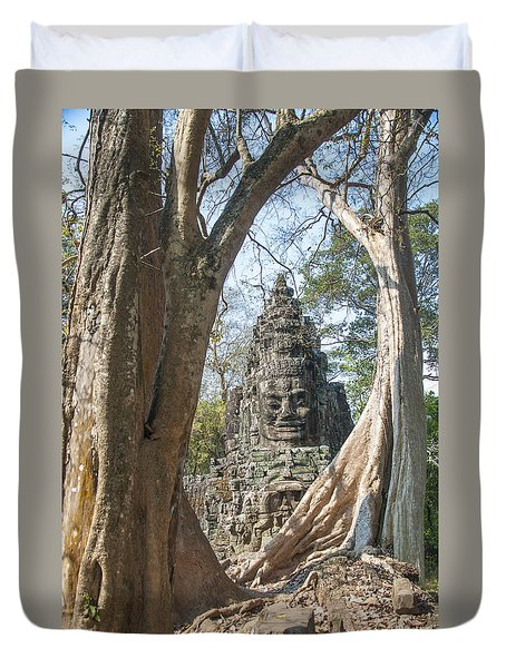 Duvet Cover featuring the photograph Angkor Thom South Gate by Rob Hemphill
