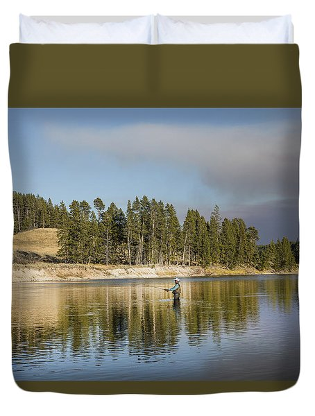 Angler Amidst Gorgeous Surroundings And A Calm River In The Yellowstone In Wyoming Duvet Cover by Carol M Highsmith