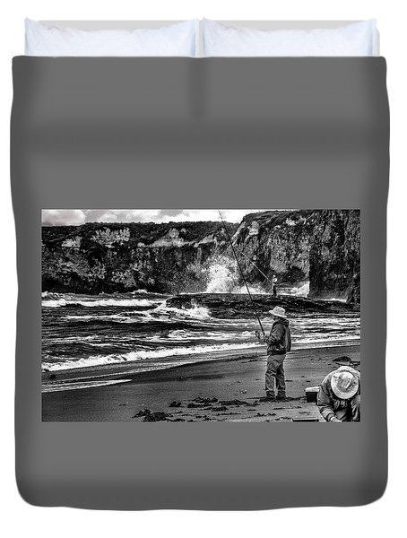 Angler On The Beach Duvet Cover