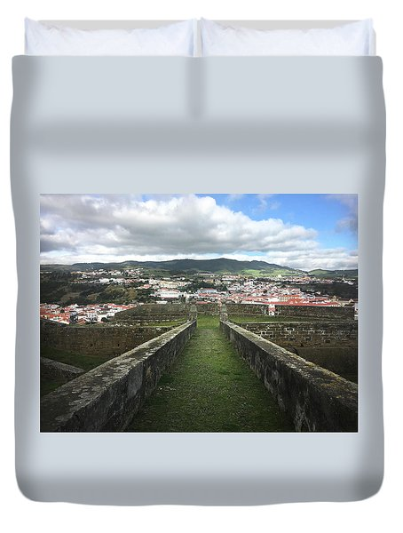 Angra Do Heroismo From The Fortress Of Sao Joao Baptista Duvet Cover
