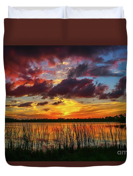 Angry Cloud Sunset Duvet Cover by Tom Claud