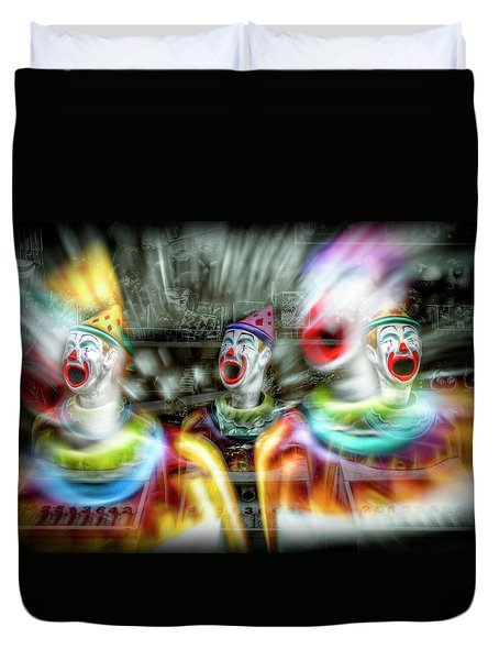 Duvet Cover featuring the photograph Angry Clowns by Wayne Sherriff