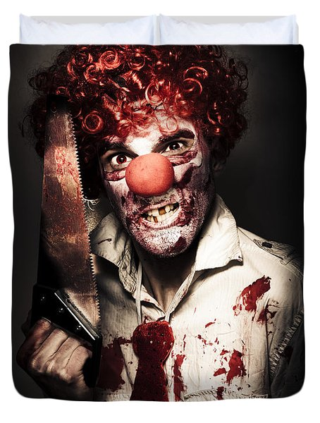 Angry Horror Clown Holding Butcher Saw In Darkness Duvet Cover by Jorgo Photography - Wall Art Gallery