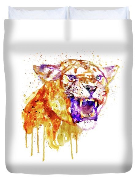 Duvet Cover featuring the mixed media Angry Lioness by Marian Voicu