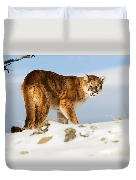 Angry Mountain Lion Duvet Cover