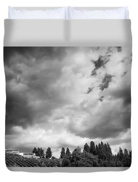 Angry Skies - Mono Duvet Cover by David Warrington