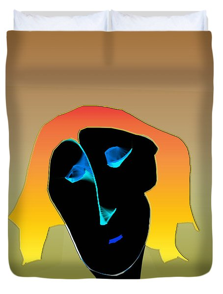 Duvet Cover featuring the digital art Anguish by Asok Mukhopadhyay
