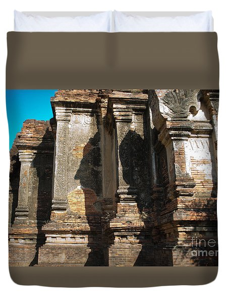 Duvet Cover featuring the photograph Angular Corner Of Temple In Burma With Sunny Blue Sky by Jason Rosette