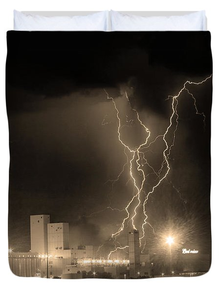 Anheuser-busch On Strikes Black And White Sepia Image Duvet Cover by James BO  Insogna