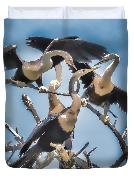 Anhinga Feeding Time Duvet Cover