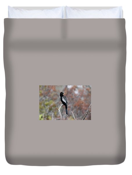 Duvet Cover featuring the photograph Anhinga by Gary Wightman