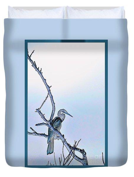 Anhinga In Blue Duvet Cover by Pamela Blizzard