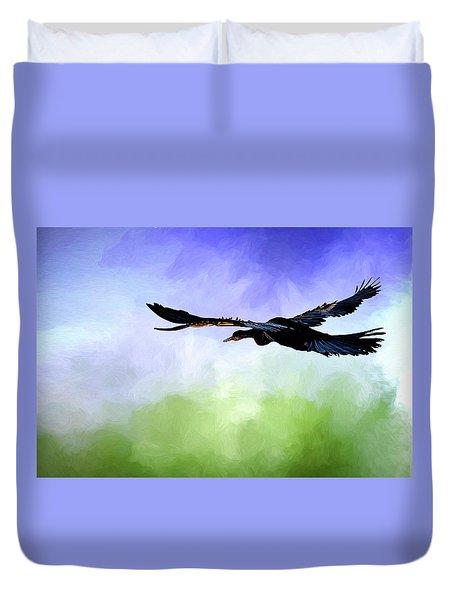 Anhinga In Flight Duvet Cover by Cyndy Doty