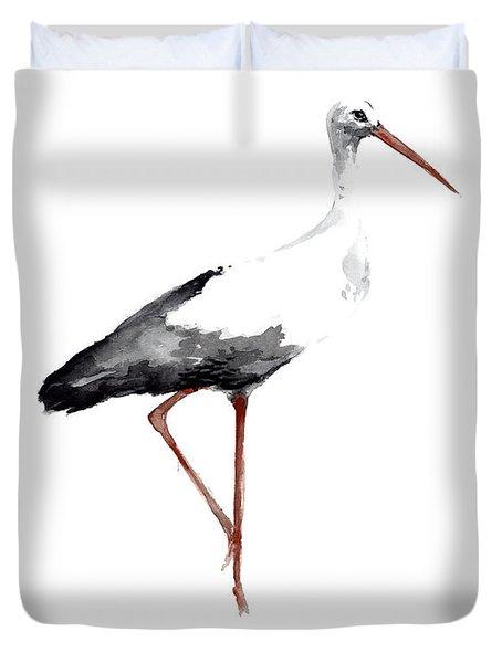 Drawing, Animal Bird, Stork Art Print, Watercolor Poster, Bird Painting, Kids Room Decor Duvet Cover