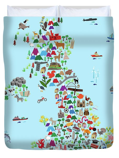 Animal Map Of Great Britain And Ni For Children And Kids Duvet Cover
