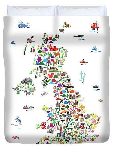Animal Map Of Great Britain For Children And Kids Duvet Cover