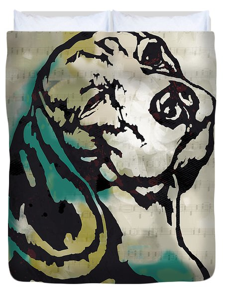 Animal Pop Art Etching Poster - Dog  16 Duvet Cover