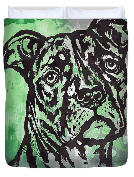 Animal Pop Art Etching Poster - Dog  17 Duvet Cover