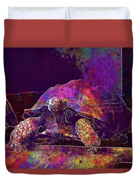 Duvet Cover featuring the digital art Animal Turtle Zoo  by PixBreak Art